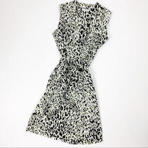 Calvin Klein Printed Sleeveless Tie Waist Dress 10